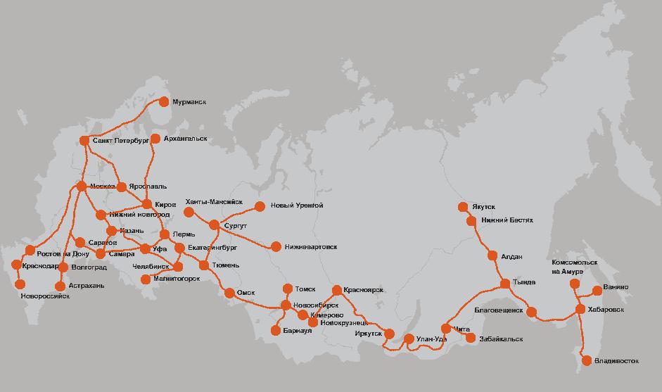 Перевозки на карте россии